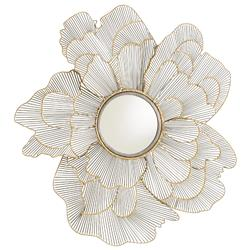 Hailey Hollywood Regency Gold Iron Floral Wall Mounted Mirror
