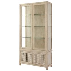 Hudson Coastal Beach Beige Wood Display Case