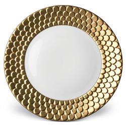 L'Objet Aegean Modern Classic White Porcelain Gold Rim Charger Plate