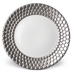 L'Objet Aegean Modern Classic White Porcelain Platinum Rim Charger Plate