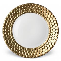 L'Objet Aegean Modern Classic White Porcelain Gold Rim Dinner Plate