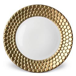 L'Objet Aegean Modern Classic White Porcelain Gold Rim Dessert Plate