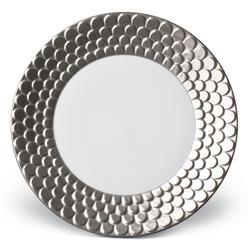 L'Objet Aegean Modern Classic White Porcelain Platinum Rim Dessert Plate