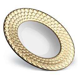 L'Objet Aegean Modern Classic White Porcelain Gold Rim Soup Plate