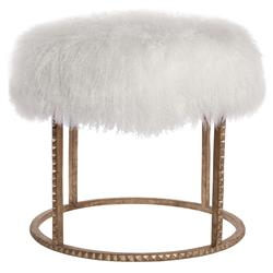 Pom Pom Hollywood Regency White Lamb Gold Studded Pouf Ottoman