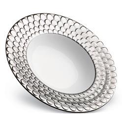L'Objet Aegean Modern Classic White Porcelain Platinum Rim Soup Plate