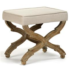 French Country Limed Grey Oak Ottoman
