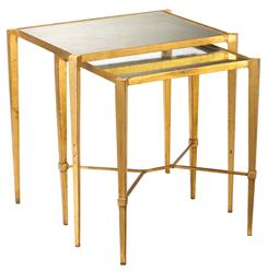 Gershon Hollywood Regency Gold Leaf Antique Mirror Nesting Tables