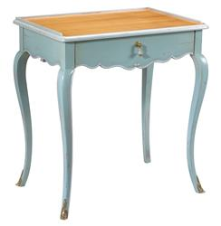 Sade French Country Cherry Wood Light Blue Side End Table | FH-M-1541-403-SBLB