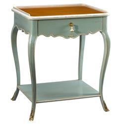 Sade French Country Cherry Wood Light Blue Nightstand | FH-M-1541-404-SBLB