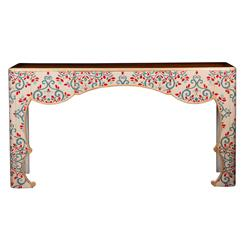 Jana French Global Bazaar Cherry Wood Painted Floral Console Table