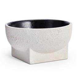 L'Objet Cubisme Industrial Loft White Earthenware Textured Bowl | Kathy Kuo Home