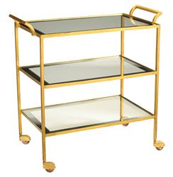 Milford Hollywood Regency Glass Gold Leaf Serving Bar Cart