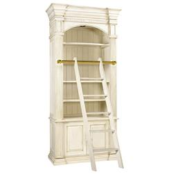 Percier French Country White Single Library Bookcase with Ladder