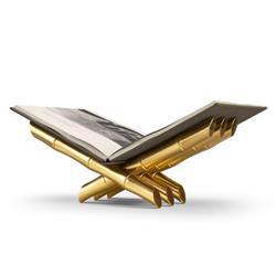 L'Objet Bambou Hollywood Regency Gold Stainless Steel Book Magazine Holder