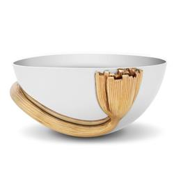 L'Objet Deco Leaves Modern Silver Stainless Steel Gold Accent Bowl - Small