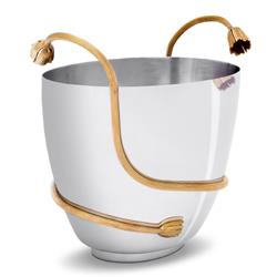 L'Objet Deco Leaves Modern Silver Stainless Steel Gold Accent Champagne Bucket