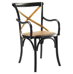 Kasson French Country Black Oak Wood Dining Arm Chair