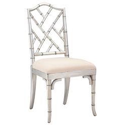 Chinese Chippendale Hollywood Regency Silver Bamboo Dining Chair