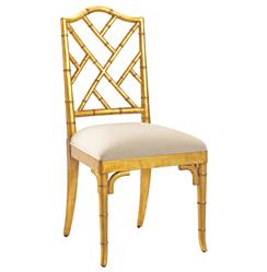 Chinese Chippendale Hollywood Regency Gold Bamboo Dining Chair