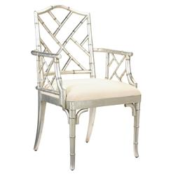 Chinese Chippendale Hollywood Regency Silver Bamboo Dining Arm Chair