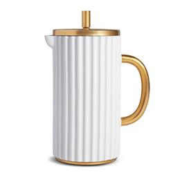 L'Objet Ionic Modern Classic White Porcelain Gold Accent French Press