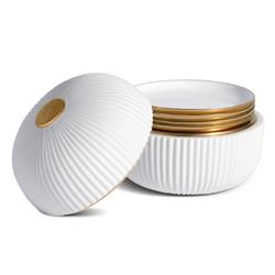 L'Objet Ionic Modern White Porcelain Gold Accent Box and Plates - Set of 4
