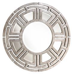 Aztec Hollywood Regency Silver Leaf Circular Pattern Wall Mirror - 47D
