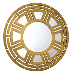 Aztec Hollywood Regency Matte Gold Circular Pattern Wall Mirror - 47D