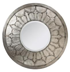 Alexandria French Country Antique Silver Round Wall Mirror - 47.5D