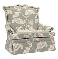 Beziers French Country Green Paisley Upholstered Skirted Settee