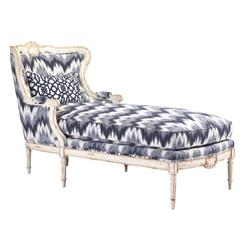bayonne french country blue geisha upholstered chaise lounge. Black Bedroom Furniture Sets. Home Design Ideas