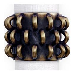 L'Objet Tulum Industrial Loft Gold Brass Napkin Ring - Set of 4 | Kathy Kuo Home