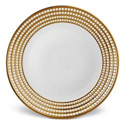 L'Objet Perlee Modern Classic White Porcelain Gold Rim Charger