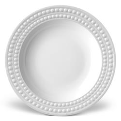 L'Objet Perlee Modern Classic White Porcelain Soup Plate