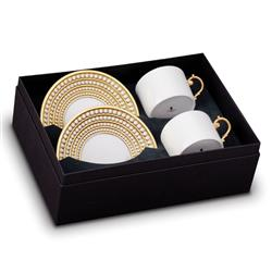 L'Objet Perlee Modern White Porcelain Gold Accent Tea Cup and Saucer - Set of 2