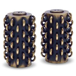 L'Objet Tulum Rings Industrial Black Brass Salt and Pepper Shaker - Set of 2 | Kathy Kuo Home