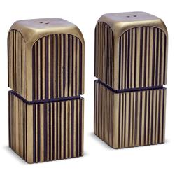 L'Objet Tulum Ridges Industrial Gold Brass Salt and Pepper Shaker - Set of 2 | Kathy Kuo Home
