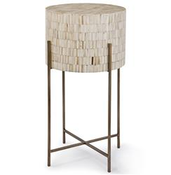 Regina Andrew  Global Bazaar White Bone Drum Side Table - Antique Brass