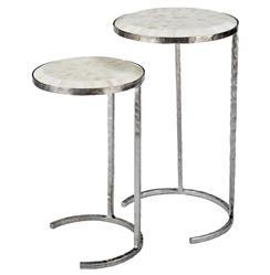 Banani Modern Classic White Bone Silver Nesting Side Tables - Set of 2
