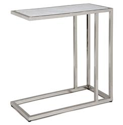 Winfrey Modern Hollywood Regency White Marble Silver Side Table