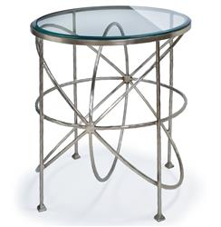 Bialik Modern Hollywood Regency Glass Orbit Round Side Table