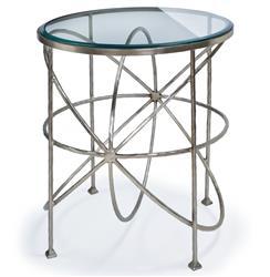 Bialik Modern Hollywood Regency Glass Orbit Round Side Table