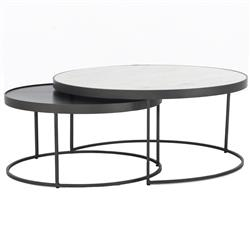 Aubree Industrial Loft White Marble Top Iron Nesting Round Coffee Table