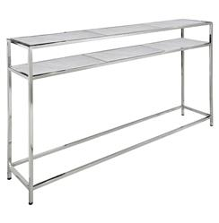 Winfrey Modern Hollywood Regency White Marble Silver Console Table