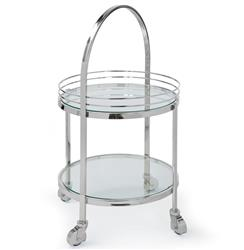 Koko Modern Hollywood Regency Silver Glass Rolling Serving Bar Cart | REG-505-564