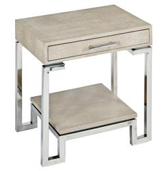 Millicent Coastal Beach Ivory Grey Faux Shagreen Silver Table Nightstand