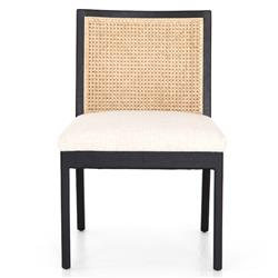 Annette Modern Classic Black Cane Wood Frame White Performance Dining Side Chair