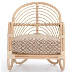 Marie Modern Brown Performance Upholstered Rattan Arm Chair