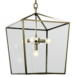 Barth Industrial Loft Brass Glass  Pentagon Pendant Lantern